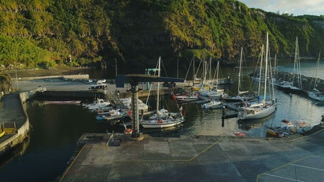 Aerial view of a marina in the sunrise