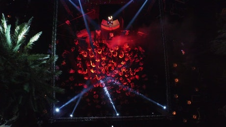 Aerial view of a nightclub crowd