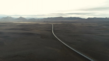 Aerial view of a road and the mountains