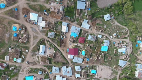 Aerial view of a rural village