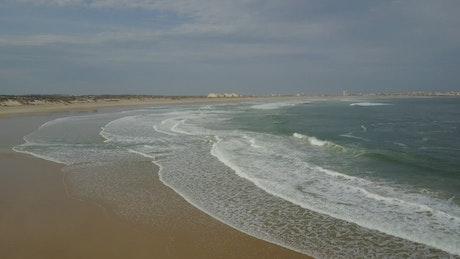 Aerial view of a vast beach