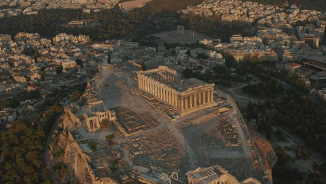 Aerial view of Acropolis in the center of Athens