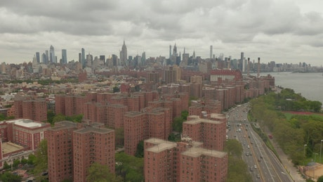 Aerial view of an apartment area in NYC