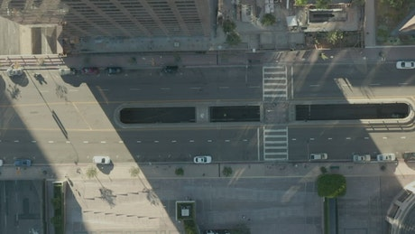 Aerial view of an avenue in LA with low traffic