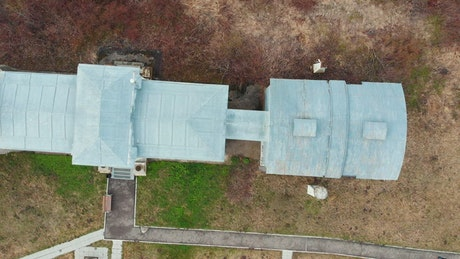 Aerial view of an observatory building