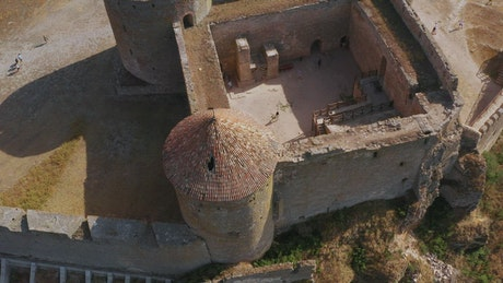 Aerial view of an old tower castle