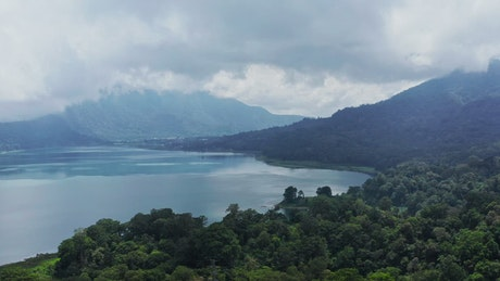 Aerial view of Batur Lake in Bali Indonesia