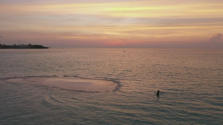 Aerial view of beach with a woman walking at sunset