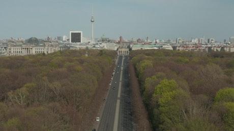 Aerial view of Brandenburg Gate in Berlin, Germany