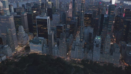 Aerial view of buildings in front of Central Park