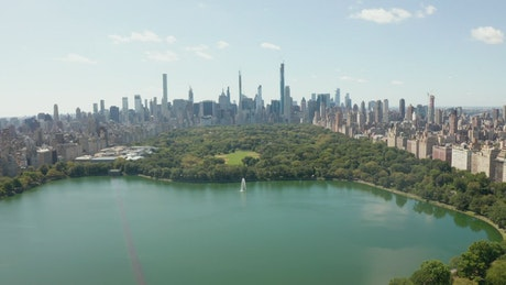 Aerial view of Central Park lake a sunny day at NYC