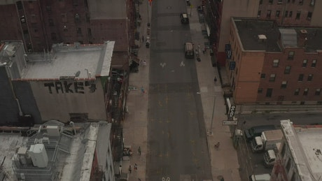 Aerial view of Chinatown in New York