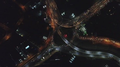 Aerial view of city traffic at night