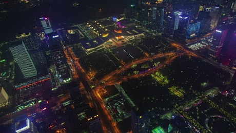 Aerial view of flashing buildings in Shenzhen