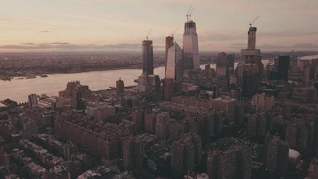 Aerial view of Manhattan in sepia tones