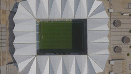 Aerial view of modern stadium