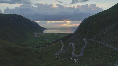 Aerial view of mountain road in Hoddevik Norway