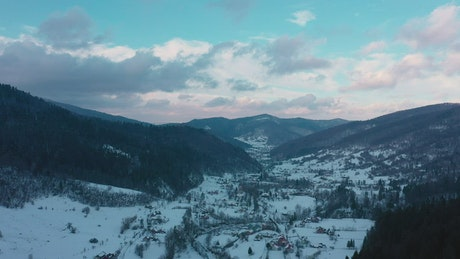 Aerial view of mountainous winter planet