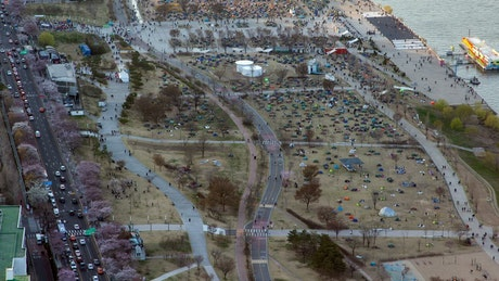 Aerial view of people in an open festival