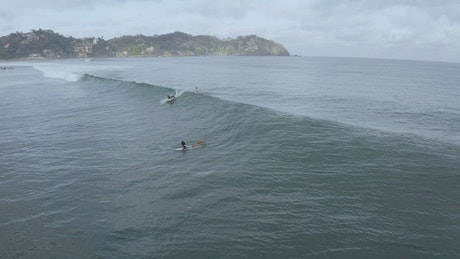 Aerial view of people surfing