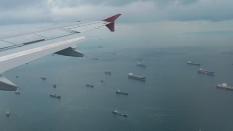 Aerial view of ships in the ocean