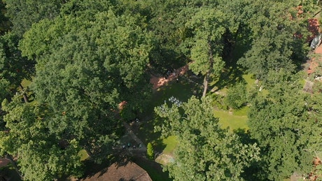 Aerial view of summer wedding on beautiful estate