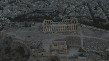 Aerial view of the Acropolis ruins in Greece