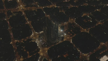 Aerial view of the cathedral in Barcelona at night