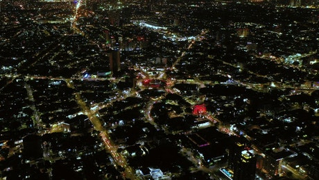 Aerial view of the city in quick motion