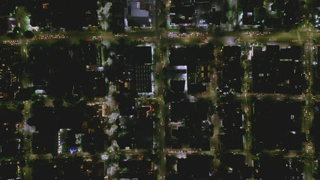 Aerial view of the city streets at night
