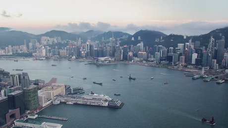 Aerial view of the harbor in Hong Kong