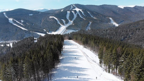 Aerial view of the mountain ski track