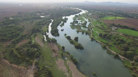 Aerial view of the Nile river in the countryside