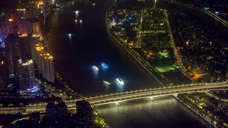 Aerial view of the river traffic by the city