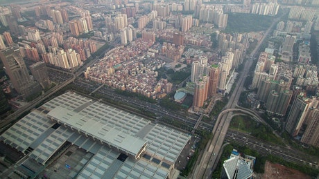 Aerial view of the Shenzhen convention center