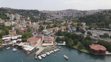 Aerial view of the shore of Istanbul city