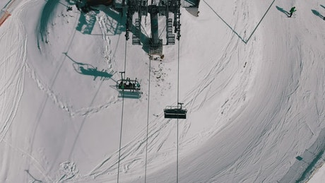 Aerial view of the ski lift mechanism working