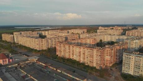 Aerial view of urban apartment buildings