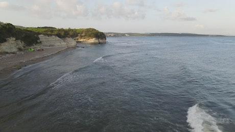 Aerial walk along a rocky coast