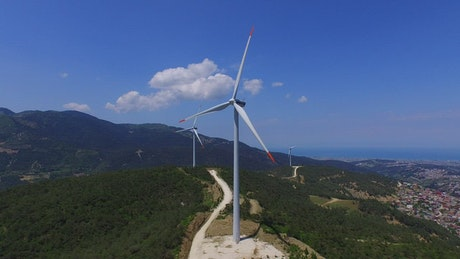 Aerial windmills in the top of a mountain
