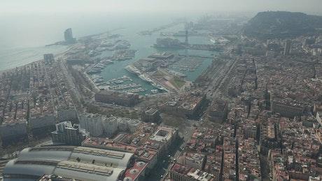 Air travel near a pier in Barcelona