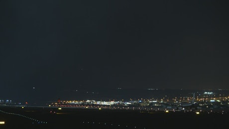 Aircraft preparing to take off at night