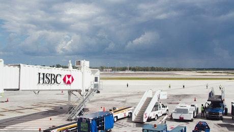 Airplane arriving at air terminal