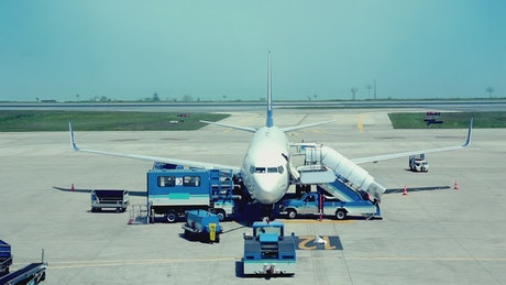 Airplane being prepared for a trip at the airport