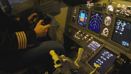 Airplane console closeup