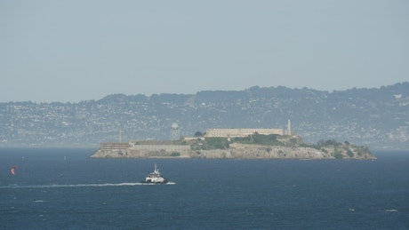 Alcatraz prison seen from afar