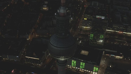 Alexanderplatz tower seen at night, spinning shot