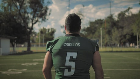 Amateur football player on the field