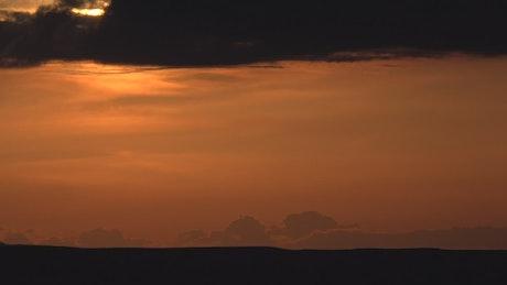 Amazing red sunset on the horizon