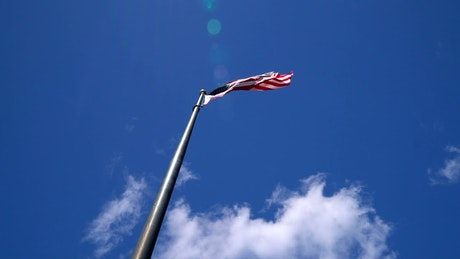 American flag flying on a hot day